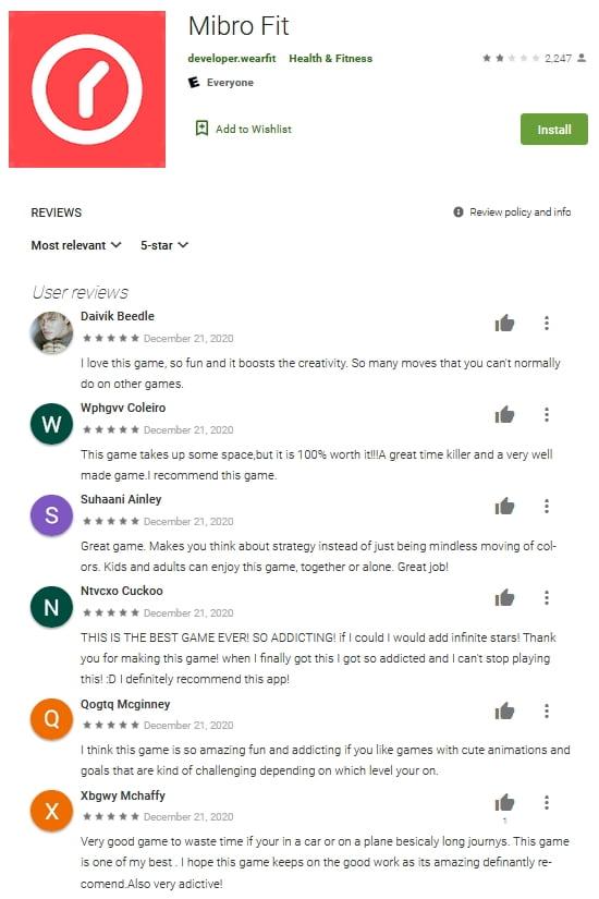 Fake Mibro Fit App Reviews